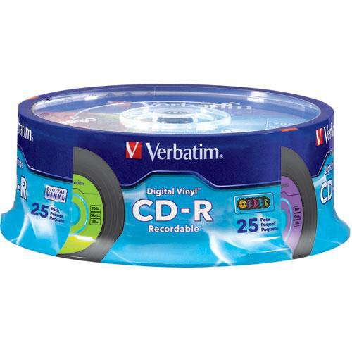 Verbatim CD-R Digital 5-Color Digital Vinyl Compact Disc (Spindle Pack of 25)