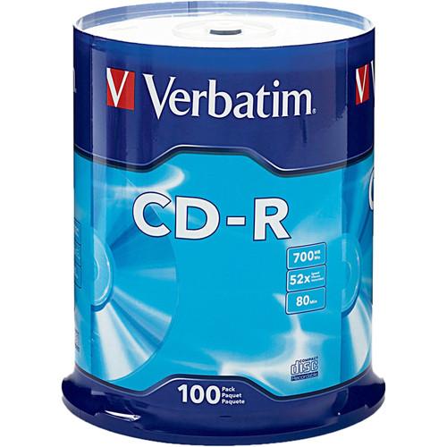 verbatim cd r 700mb disc spindle pack of 100 94554 b h photo. Black Bedroom Furniture Sets. Home Design Ideas
