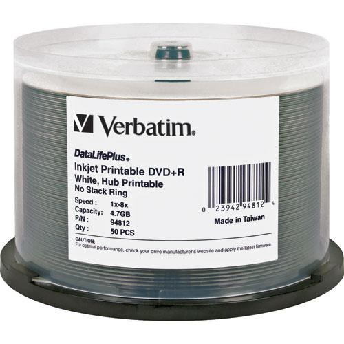 Verbatim DVD+R 4.7GB, 8x, White Inkjet Disc (50)