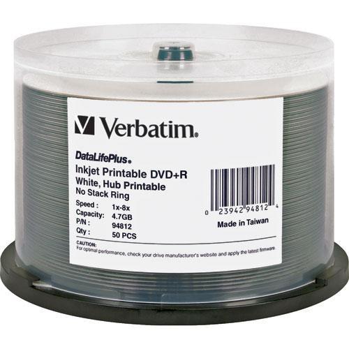 Verbatim DVD+R 4.7GB, 8x, White Inkjet Disc (50)