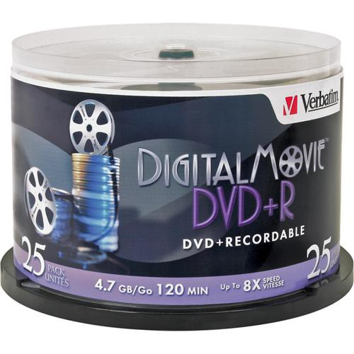 Verbatim DigitalMovie DVD+R 4.7GB 8X Recordable Disc (Spindle Pack of 25)
