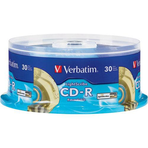 Verbatim CD-R 52X 80 Minute, LightScribe Printable Recordable Disc (Spindle Box of 30)