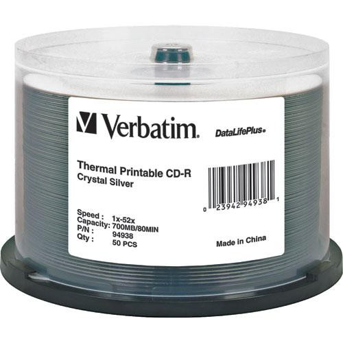 Verbatim CD-R 52x Write Once DataLifePlus Crystal Thermal Printable Recordable Compact Disc (Spindle Pack of 50)