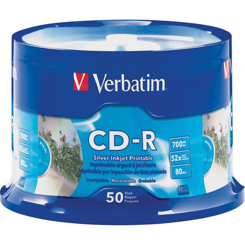 Verbatim CD-R 700MB 52x Silver Inkjet Printable Recordable Compact Disc (50-Pack Spindle)