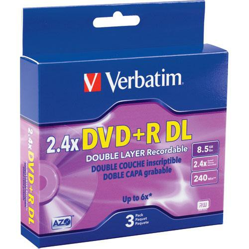 Verbatim DVD+R Double Layer Recordable Disc in Jewel Case (Pack of 3)
