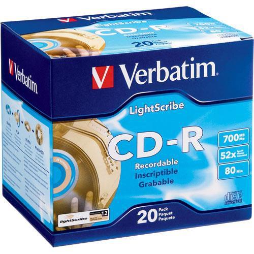Verbatim CD-R 52X 80 Minute, LightScribe Printable Recordable Disc (Slim Jewel Case 20)