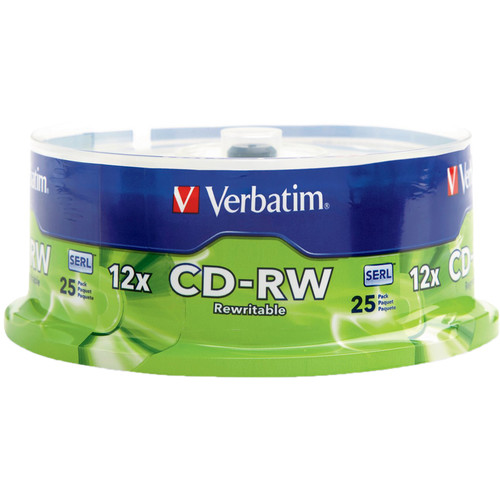 Verbatim CD-RW 700MB Rewritable High Speed Recordable Disc (Spindle Pack of 25)