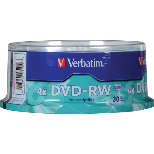 Verbatim DVD-RW 4.7GB, 4x Recordable Disc (Spindle Pack of 30)