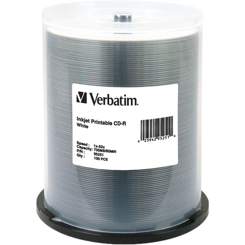 Verbatim CD-R White Inkjet Printable Disc (100)