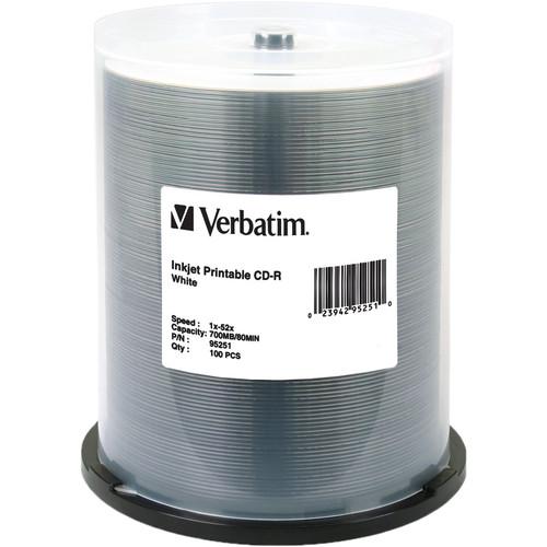 Verbatim CD-R White Inkjet Printable Disc (100)