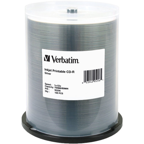Verbatim CD-R 700MB 52x Write Once Silver Inkjet Printable Recordable Compact Disc (Spindle Pack of 100)