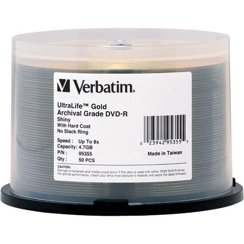 Verbatim DVD-R UltraLife Gold Archival Grade 4.7GB Recordable Disc (Spindle Pack of 50)