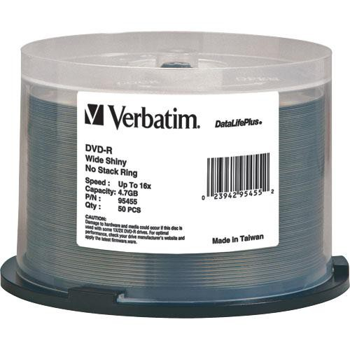 Verbatim DVD-R 4.76GB 16X DataLifePlus Wide Shiny Silver Spindle (Pack of 50)