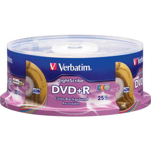 Verbatim DVD+R 4.7 GB 16X Color LightScribe Spindle (Pack of 25)