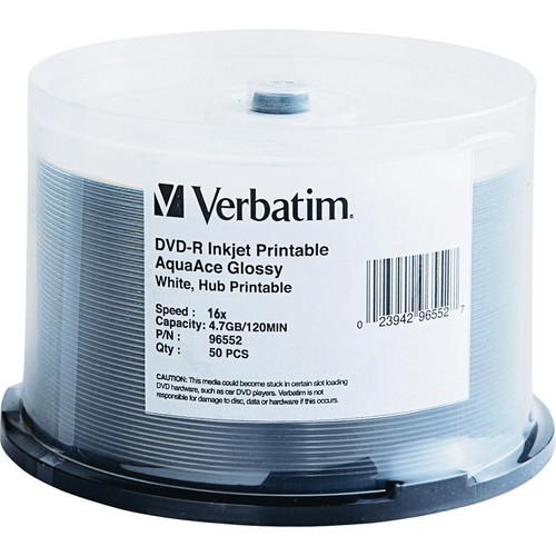 Verbatim DVD-R AquaAce Glossy White Inkjet Printable Hub Printable (Spindle 50)