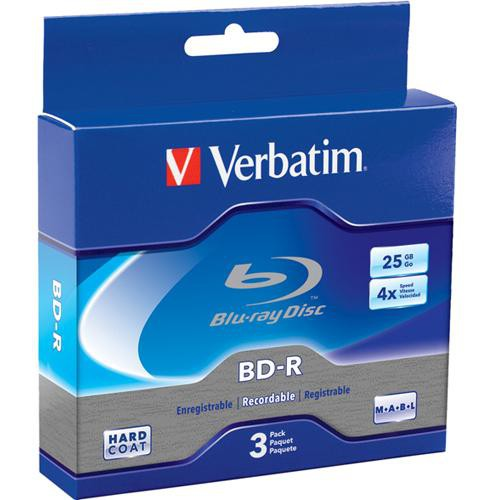 Verbatim BD-R 25GB 4X Branded 3pk Jewel Case