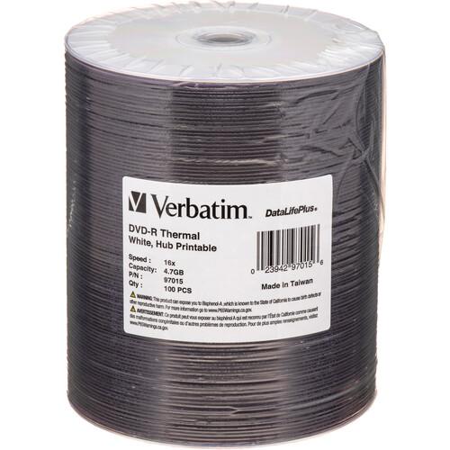 Verbatim DVD-R 4.7GB 16x Thermal Printable Disc (Spindle Pack of 100)