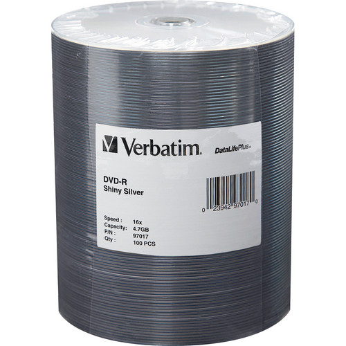 Verbatim DVD-R 4.7GB 16x Shiny Silver Disc (Spindle Pack of 100)
