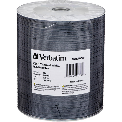 Verbatim CD-R 80 High Speed, Thermal Printable Compact Disc (Spindle Pk of 100)