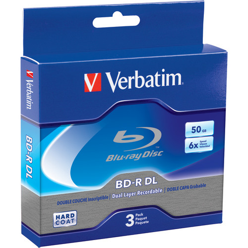 Verbatim BD-R DL Blu-ray 50GB 6x Disc (3-Pack Jewel Case)