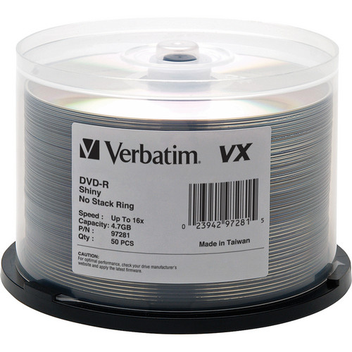 Verbatim VX Shiny Silver 4.7 GB DVD-Recordable Discs (Pack of 50)