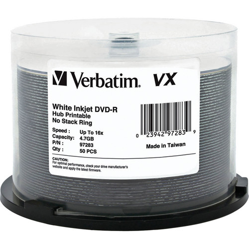 Verbatim VX 4.7GB DVD-R 16x Inkjet and Hub Printable Discs (50-Pack Spindle)