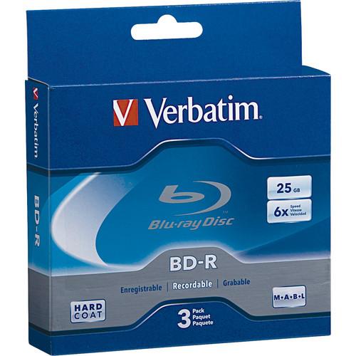Verbatim BD-R Blu-Ray 25GB 6x  Discs (3 Pack Jewel Case)