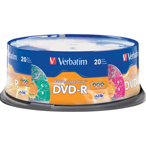 Verbatim Kaleidoscope Series DVD-R Recordable Media (20-pack Spindle)