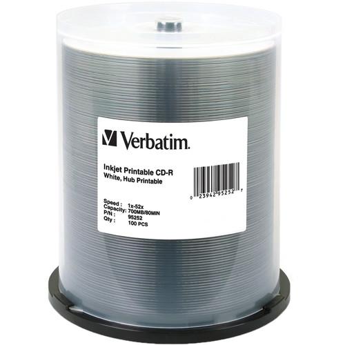 Verbatim CD-R 700MB / 80-Minute 52x Write-Once White Printable (100-Pack Spindle)