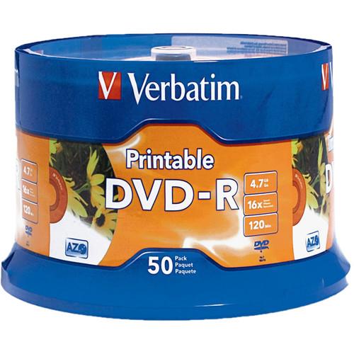 Verbatim DVD-R 4.7GB 16X White Inkjet Hub Printable Discs (50 Pack)