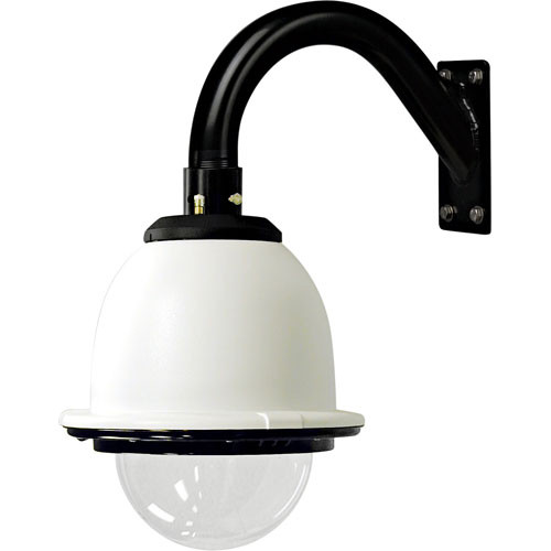 """Videolarm PFDW75C2N 7"""" IP Network-Ready Pressurized Outdoor Housing with Gooseneck Wall Mount, Clear Dome and Heater/Blower"""
