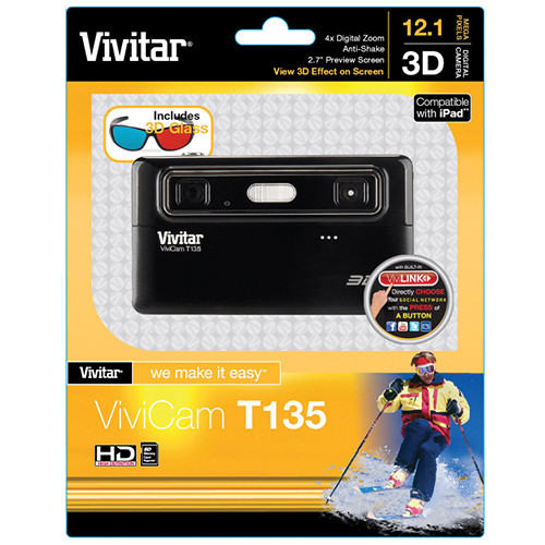 Vivitar ViviCam T135 3D Digital Camera (Black)