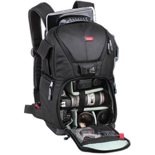 "Vivitar DKS-18 Photo/SLR/Laptop Sling Backpack, Small (18 x 11.5 x 8"", Black)"