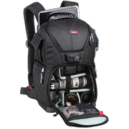 "Vivitar DKS-20 Photo/SLR/Laptop Sling Backpack, Medium (19 x 11.5 x 8"", Black)"