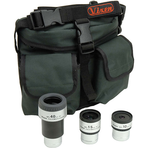 Vixen Optics Plossl Eyepiece Package - 10mm, 15mm, & 40mm NPL Plossls + Fanny Pack