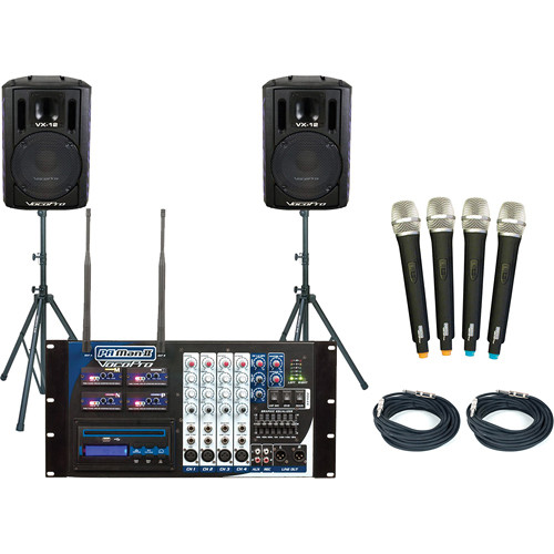 VocoPro PA-MAN II PRO 4-Channel Wireless All-In-One PA System Package