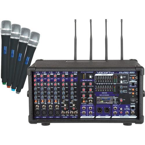 VocoPro PA-PRO 900-2 900W Professional PA Mixer (4 Wireless UHF Modules)