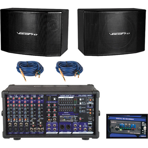 VocoPro PA-PRO UNO 900W Professional P.A. Mixer Package