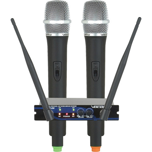 VocoPro UHF-28 Dual-Channel UHF Wireless Microphone System (Frequency Set: Q, R)