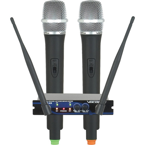 VocoPro UHF-28 Dual-Channel UHF Wireless Microphone System (Frequency Set: M, N)