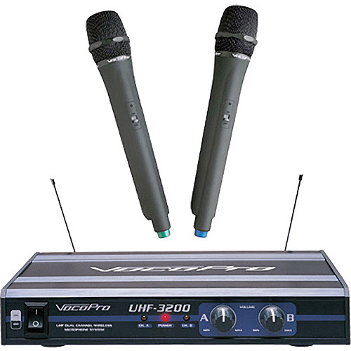 VocoPro UHF-3200 - UHF Dual-Channel Wireless Mic System
