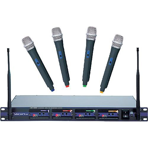 VocoPro UHF-5800 PRO 4-Channel UHF Wireless Handheld Microphone System