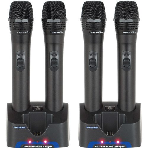 VocoPro UHR UHF Handheld Rechargeable Microphones with Charging Stations