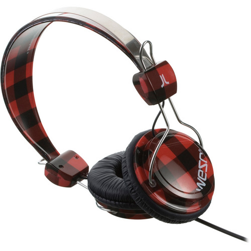 WeSC Checked Bongo On-Ear Stereo Headphones (Ribbon Red)