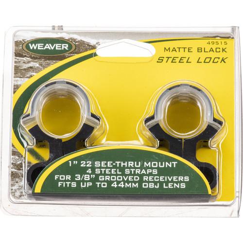 """Weaver Steel Lock Mount See-Thru Riflescope Rings for 1"""" .22 See Thru (Black)"""