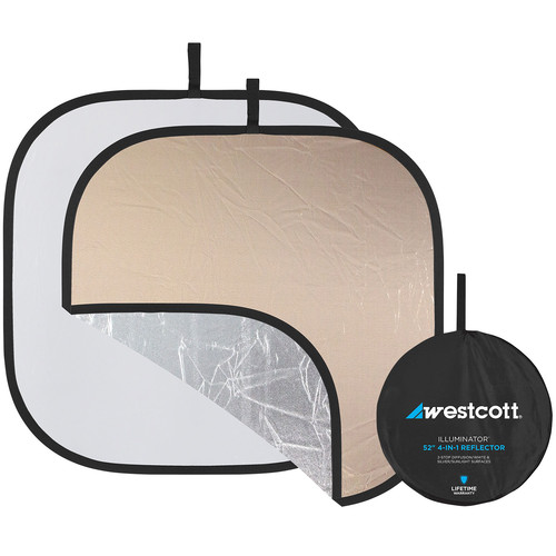 """Westcott Illuminator Collapsible Reflector 4-in-1 - 52"""" Square - Silver, Sunlight, Diffuser and White"""