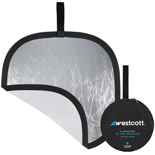 """Westcott Illuminator Collapsible 2-in-1 Silver/White Bounce Reflector (22"""")"""