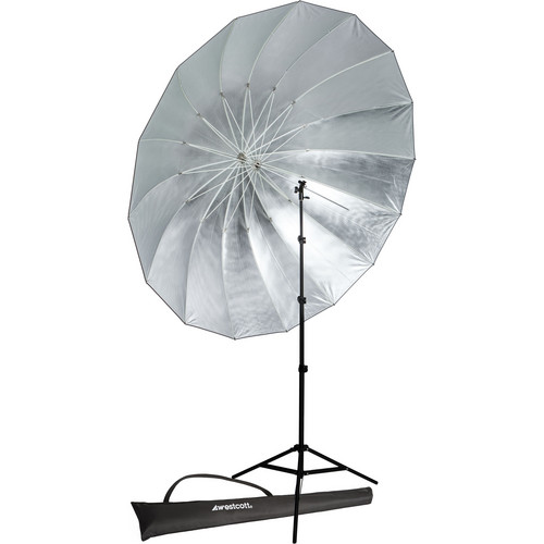 Westcott 7' Parabolic Umbrella (Silver) with 8.0' Stand Promo Kit