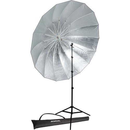 Westcott 7' Parabolic Umbrella (Silver) with 8.0' Stand Promo Kit