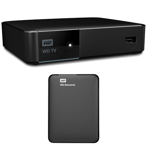 WD WD TV Streaming Media Player and 1TB Elements Portable Hard Drive